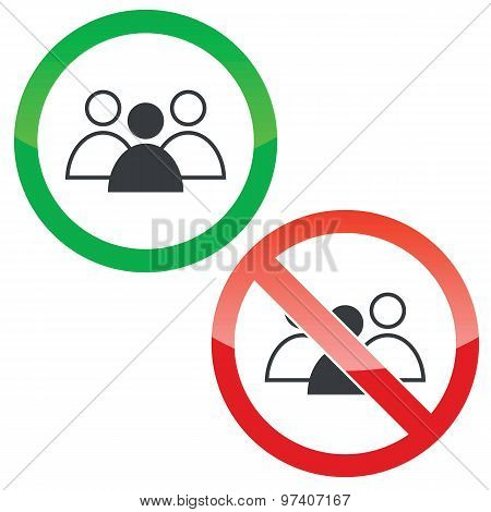 Group leader permission signs set