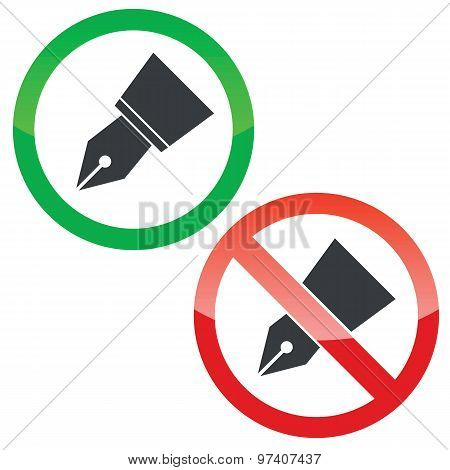 Ink pen permission signs set