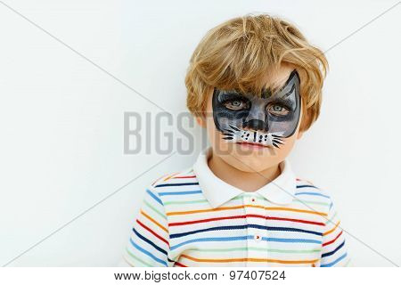 Little Kid Boy With Face Painted As Animal