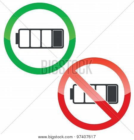 Low battery permission signs set