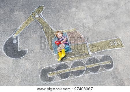 Funny Little Kid Boy With Excavator Chalk Picture