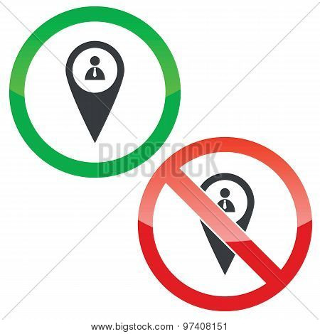 Mark user permission signs set