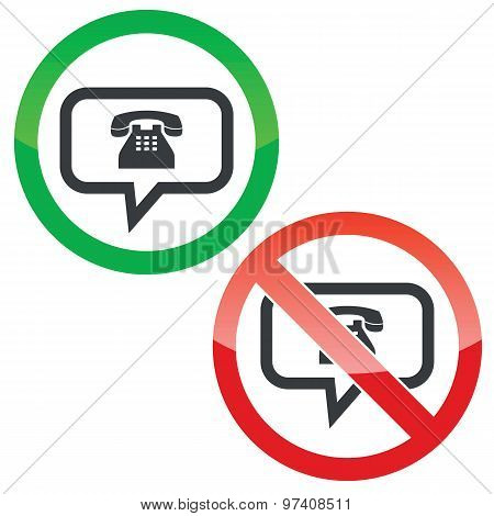 Phone message permission signs set
