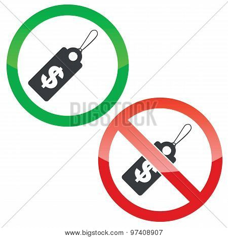 Dollar price permission signs set