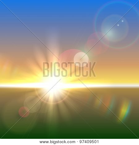 Vector sun over horizon with lens flares
