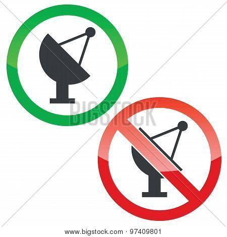 Satellite permission signs set