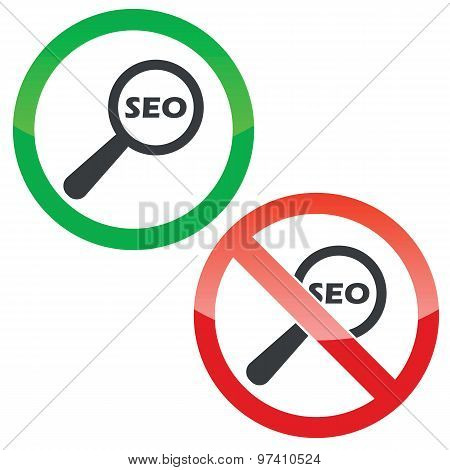 SEO search permission signs set