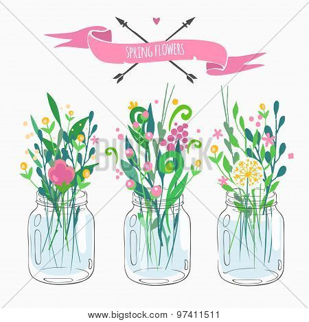 bouquets in jars