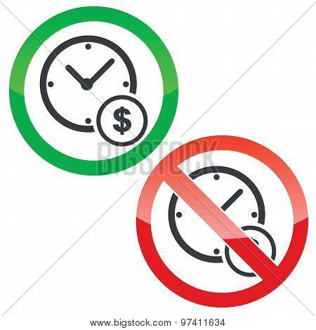 Time money permission signs set