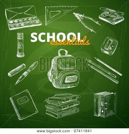 Vector set of school items on a chalkboard.