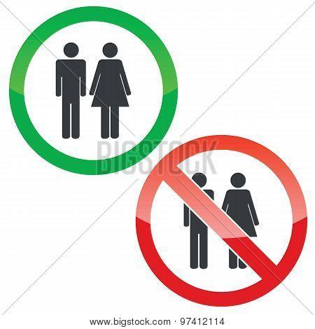Man woman permission signs set