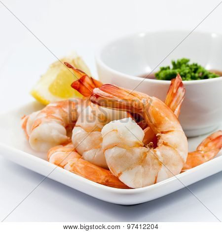 Shrimp Cocktail Isolated On A White Background.