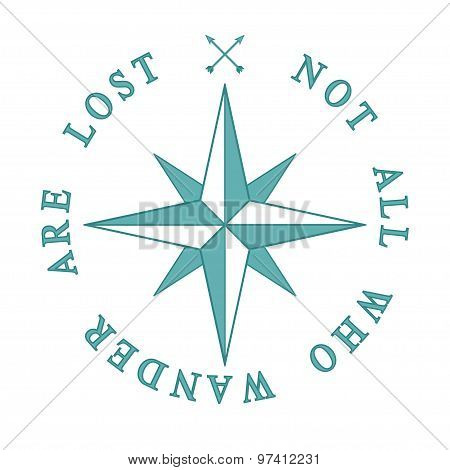 Nautical symbol Compass rose vector Adventure travel concept Inspiration quote