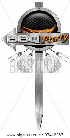 Bbq Party - Metal Directional Sign