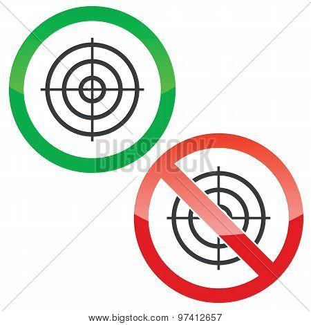 Aim permission signs set