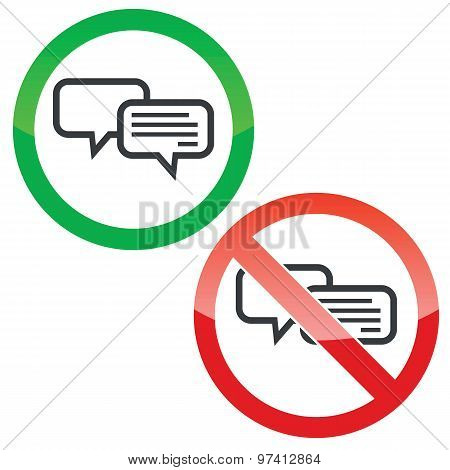 Chatting permission signs set