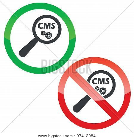 CMS search permission signs set