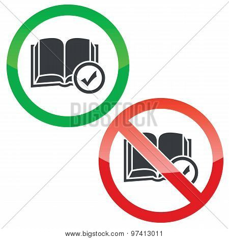 Select book permission signs set