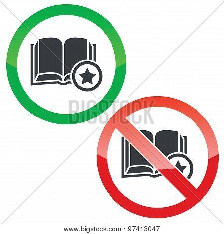 Favorite book permission signs set
