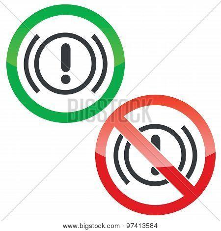 Alert permission signs set