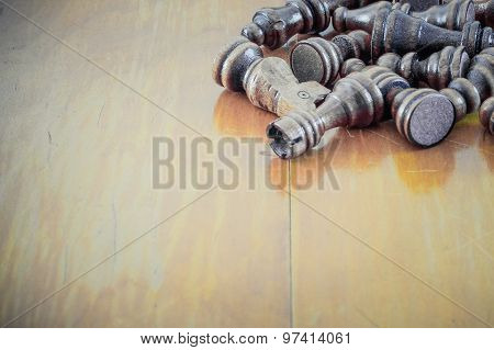Wooden Background Texture Business Presentation Template With Chess Pieces.