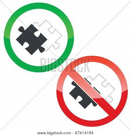 Place puzzle permission signs set