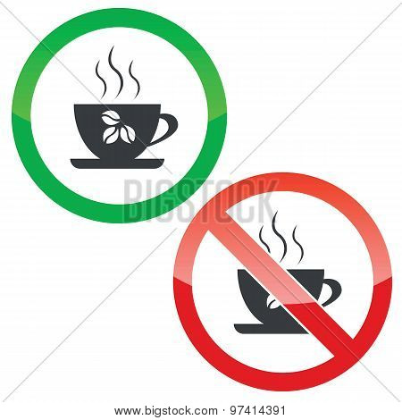 Coffee cup permission signs set