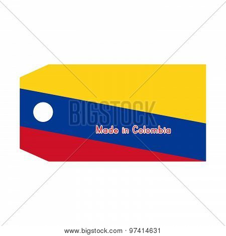 Vector Illustration Of Colombia Flag On Price Tag With Word Made In Colombia Isolated On White Backg