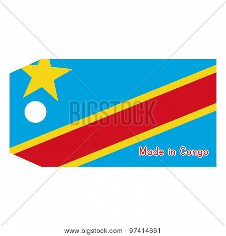 Vector Illustration Of Democratic Republic Of The Congo Flag On Price Tag With Word Made In Democrat