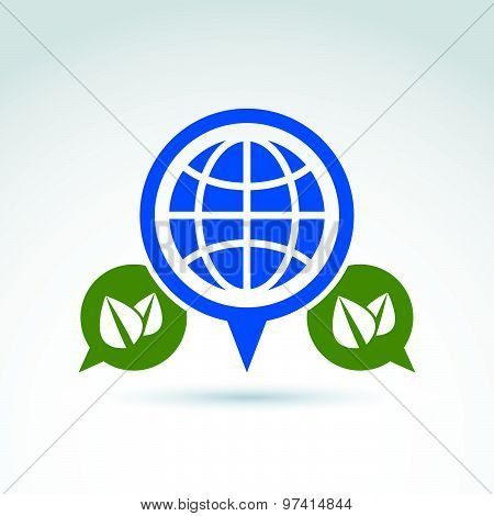 Conversation on ecology theme, speech bubbles with green leaves and earth, conceptual eco sign.  Eco