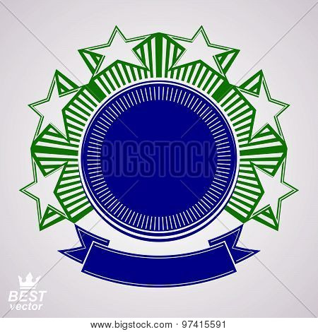 Vector design element, celebrative pentagonal stars web emblem with wavy ribbon.