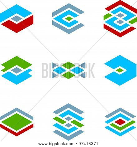 Abstract vector icons set, creative symbols collection, stylish templates.