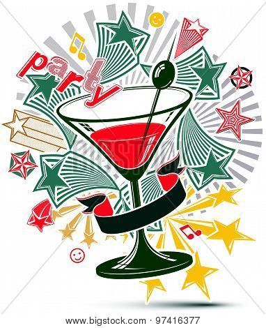 Festive illustration with musical notes and glass martini goblet with decorative stars. Party design