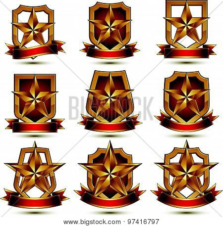 Set of geometric vector glamorous golden elements isolated on white backdrop, 3d polished stars