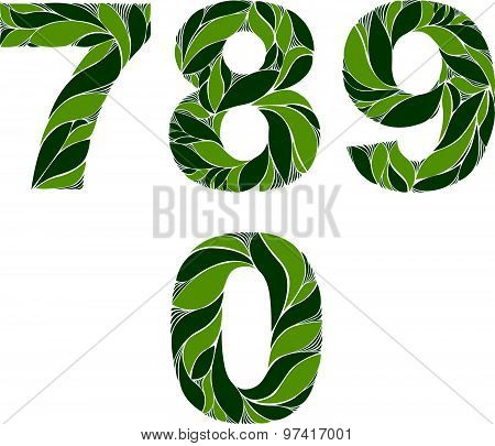 Ornamental figures, numbers decorated with summer green herbal pattern isolated. 7, 8, 9, 0