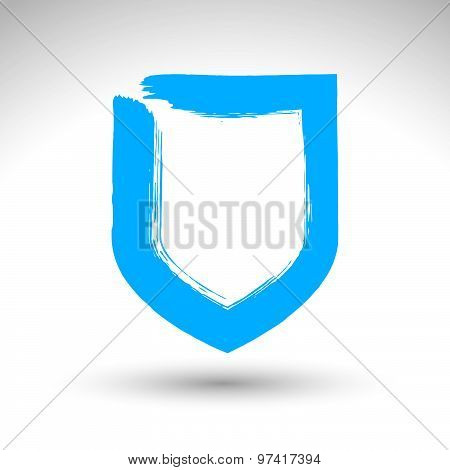 Hand drawn shield icon, brush drawing vector security sign, blue hand-painted protection symbol