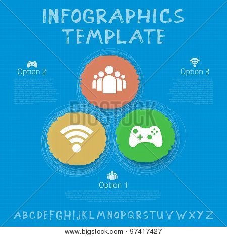 Social Network Vector Infographic Template. Color Hand Drawn Cir