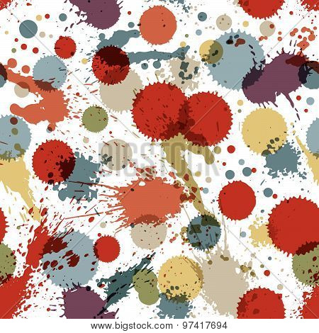 Colorful splattered web design repeat pattern, art ink blob, multilayered paintbrush drawing. Bright