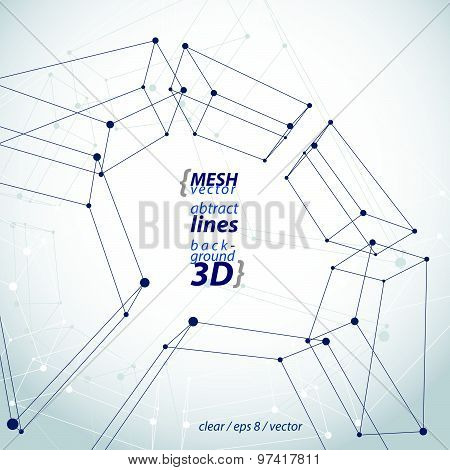 Spatial clear eps8 engineering vector illustration, set of 3d mesh symbol, wireframe parallelograms