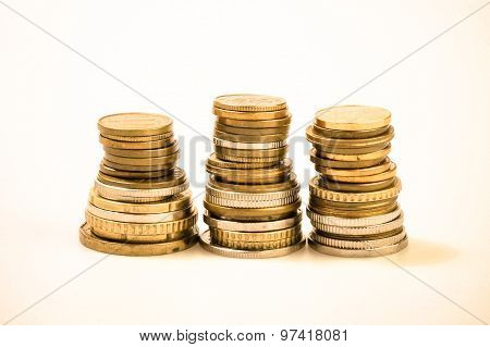 Coin Piles, Gold Coin Stacks.