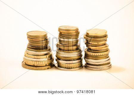 Coin Piles, Gold Coin Stacks.