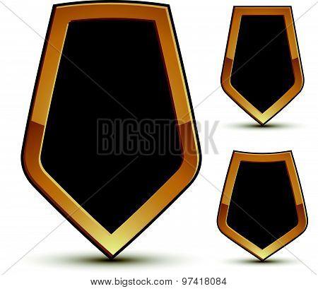 Renown vector black shield shape emblems with golden borders, 3d polygonal design elements, clear EP