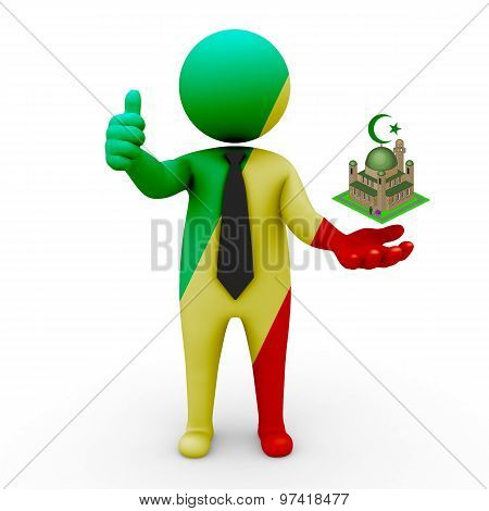 3d businessman people Congo- Muslim mosque and Islam in Congo