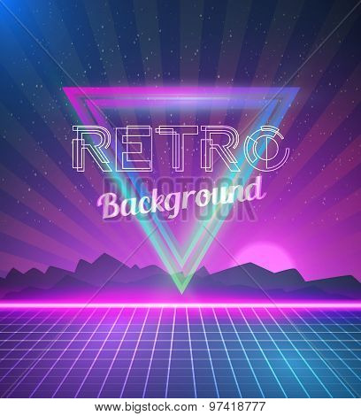 Retro Disco 80s Neon Poster made in Tron style with Triangles