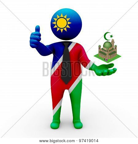 3d businessman people Namibia - Muslim mosque and Islam in Namibia