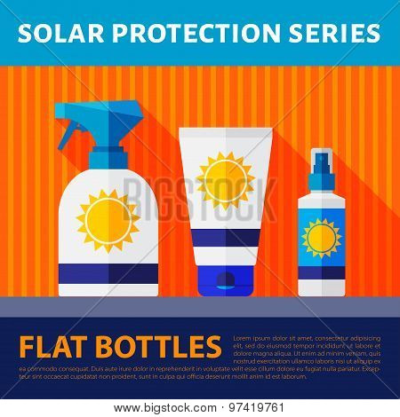Vector set of flat bottles