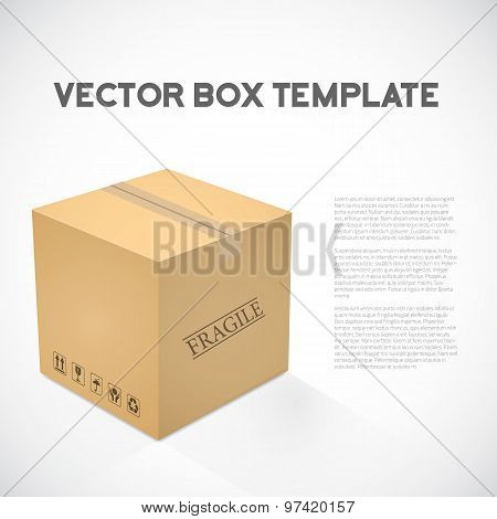 Realistic 3D Vector Cube Cargo Shipping Device Box Icon