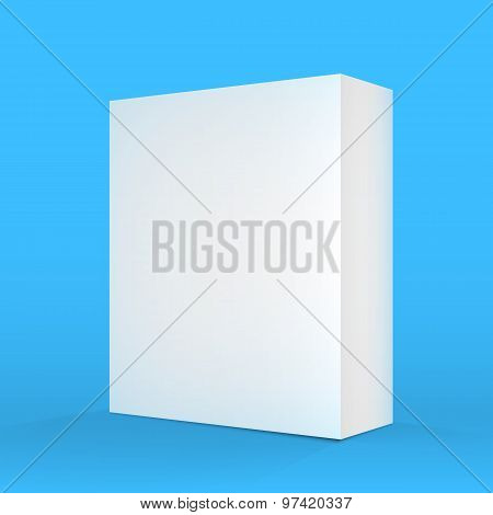 Realistic Vector Blank Blue White Packaging Box Template for cel