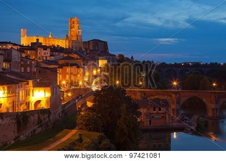View Of The Albi, France At Night