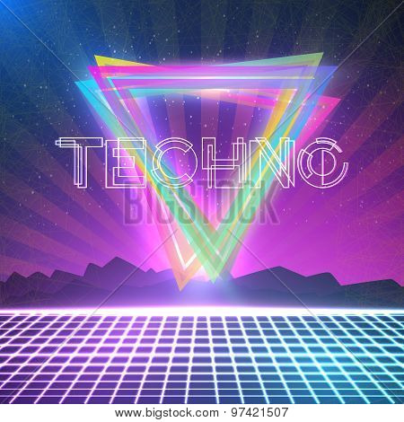 Abstract Techno 1980s Style Background with Triangles, Neon Grid